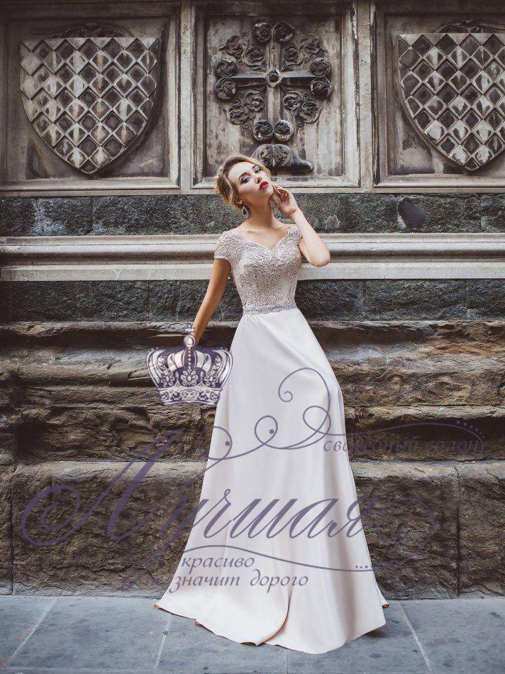 Атласное свадебное платье А1634