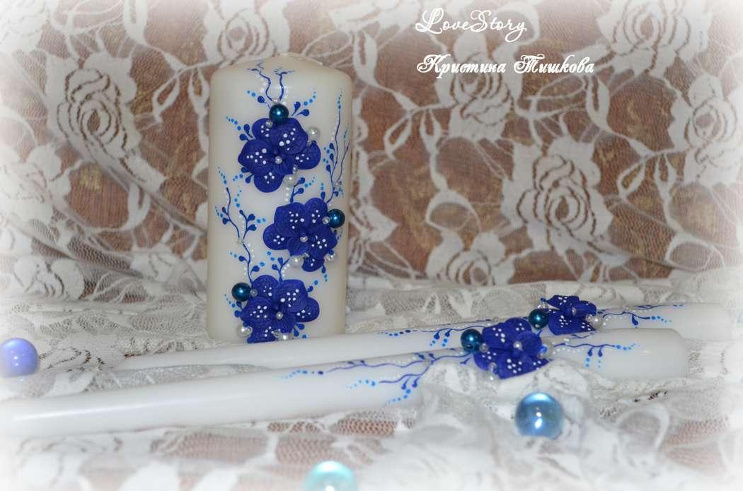 """Свечи из набора """"Пленительная орхидея"""" в синем цвете - фото 4423373 Студия аксессуаров Кристины Тишковой"""