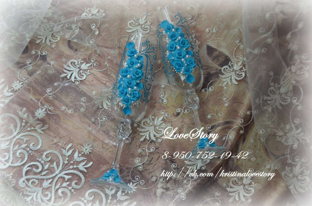 "Бокалы ""Анжелика"" в цвете тиффани - фото 4423999 Студия аксессуаров Кристины Тишковой"