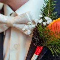 Свадебная бутаньерка с тюльпано, шишкой и веточкой ели.