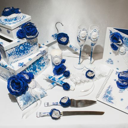 Набор свадебных аксессуаров Гжель