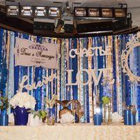 Задник за столом жениха и невесты выполнен из лент разной фактуры, ширины и длины различных оттенков белого, кремового и синего!