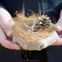 Гнездо с кольцами на рустикальная свадьбе Насти и Вани в Бештаугорском заповеднике