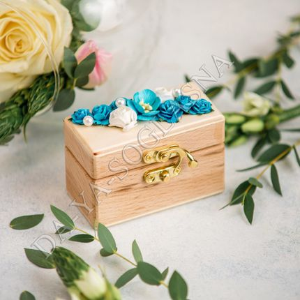 "Шкатулка для свадебных колец ""Бирюза"""