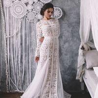 свадебное платье с рукавами и открытой спиной 2017 бохо