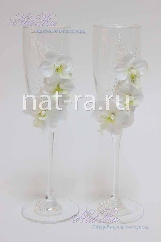 """Свадебные бокалы с орхидеями - фото 3311071 Студия свадебных аксессуаров """"NatRa"""""""