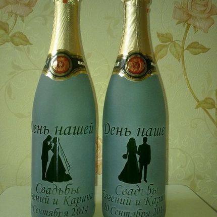 Свадебное шампанское украшение бутылки
