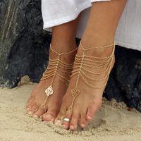 """Украшения для невесты в индийском стиле - браслеты на ноги """"пайял"""" из золотистых цепочек с ажурными вставками."""