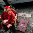 Букет марсала, персиковый, свадебные кольца