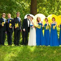 13 Жених, невеста их друзья и подружки в синем
