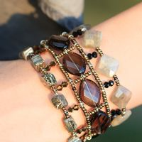 """Браслет из натуральных камней """"Лабрадор"""": лабрадор, раухтопаз, пирит, стекло."""