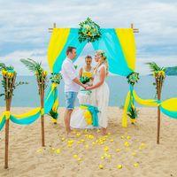 желто-бирюзовая свадьба, арка с живыми цветами Нячанг