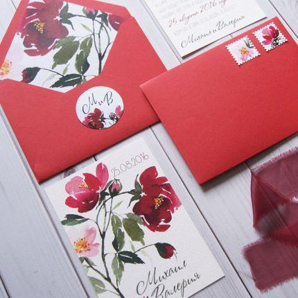 """Приглашение """"Красные цветы"""""""