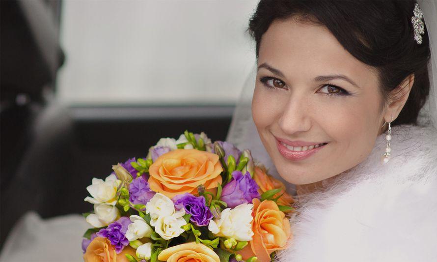 Букет невесты из оранжевых роз, сиреневых эустом и белых фрезий - фото 1334361 Family Tree - Павел и Мария Тереховы - фотографы
