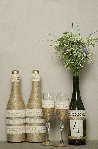 Бутылка шампанского своими руками в стиле рустик