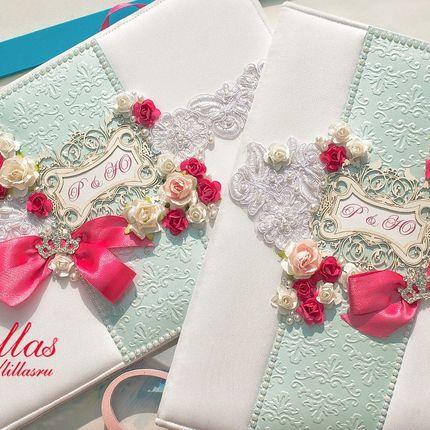 Книга пожеланий в цвете фуксия и голубой