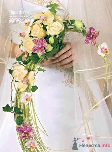 Каскадный букет невесты с желтыми розами и орхидеями. - фото 338 moonwoman
