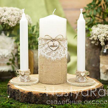Рустикальные свадебные свечи