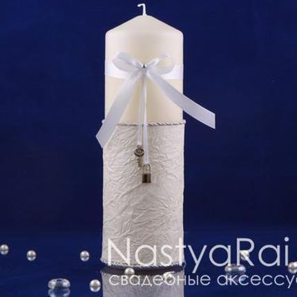 Большая свеча  20 см с серебром