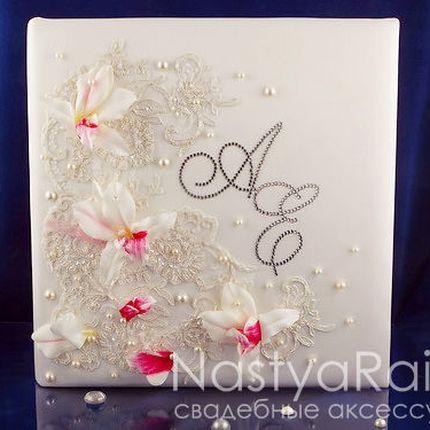Кружевной фотоальбом с орхидеями, под уголки