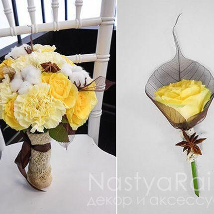 Бутоньерка из розы и бадьяна