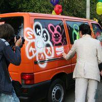 оранжевое небо, оранжевое море... оранжевый автобус