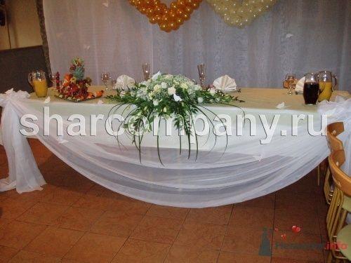 """Цветы и драпировка стола - фото 15188 Компания """"Шар"""" - оформление"""