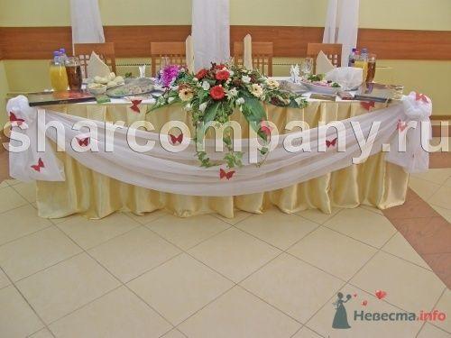 """Цветы и драпировка стола - фото 15193 Компания """"Шар"""" - оформление"""