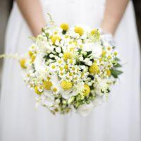 Букет невесты из белых ромашек и желтых краспедий