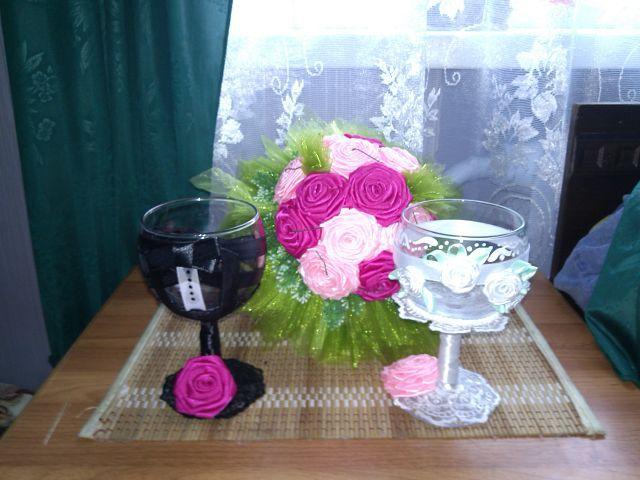 """Букет и бокалы для жениха и невесты - фото 2592149 """"Иришка"""""""