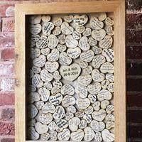 пожелания на деревянных сердечках в рамке, для свадьбы в стиле рустик