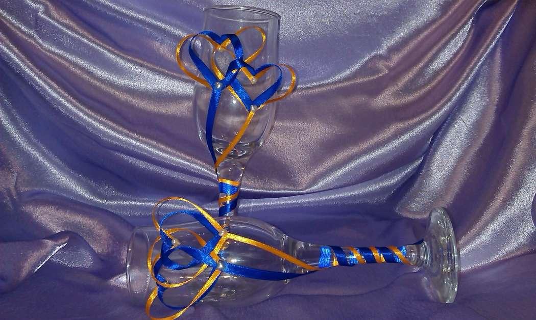 Бокалы Переплетенные сердца. Возможно исполнение в любом цвете. - фото 2693535 Мастерская аксессуаров БиС