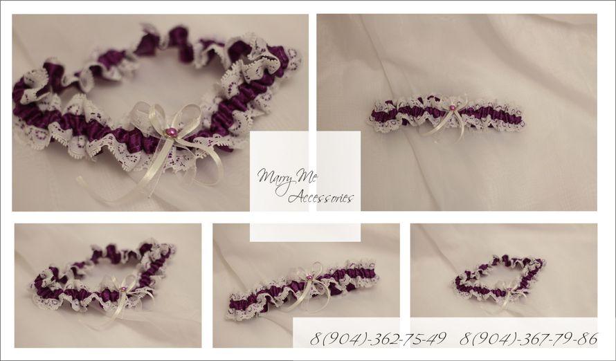 """Фиолетовая атласная подвязка с белым кружевом и атласным бантом из тонкой ленты - фото 2702502 """"Marry Me """" свадебная мастерская"""