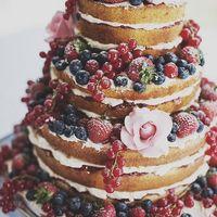 Naked cake с цветами  и ягодами