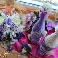 Букет Невесты в сиреневых и фиолетовых тонах.