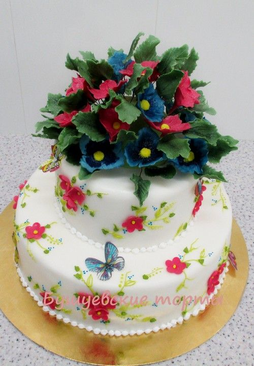 Полевые цветы из мастики на торт