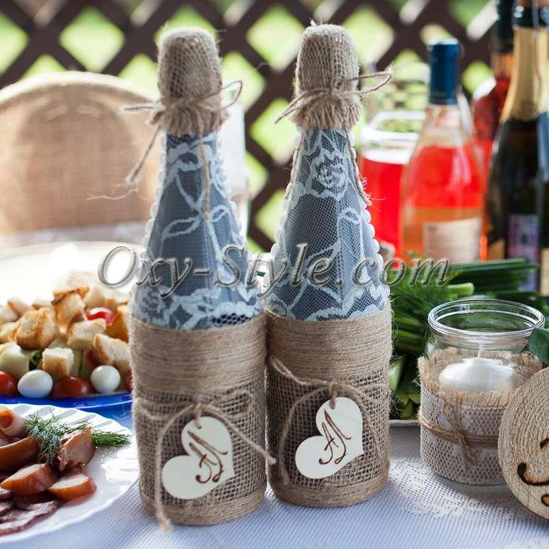 Бутылки в стиле рустик своими руками