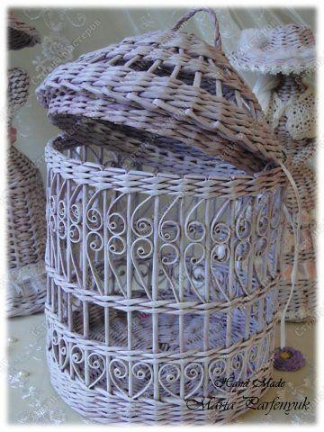 Плетение из газет клетка для птицы