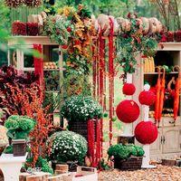 На декор влияет и время года – осенью все чаще используется оформление не только цветами, но и различными плодами, овощами, а также их комбинацией. В осенней свадьбе в стиле «эко» все чаще применяются элементы из натурального дерева: сухие ветки или с пло