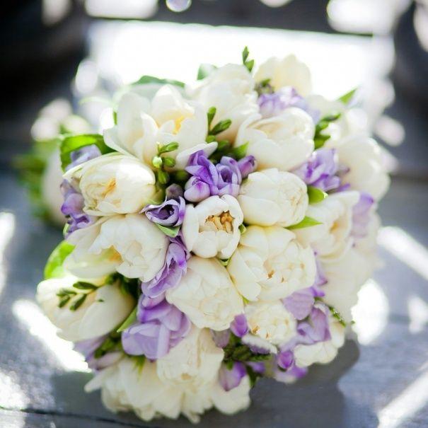 Цветы, букет из 51 фрезии и тюльпанов