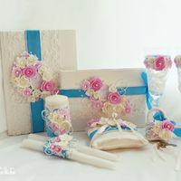 Набор свадебных аксессуаров в розово-голубом цвете