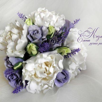 Букет невесты с лавандой и пионами