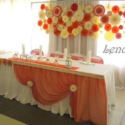 Оформление свадьбы в оранжевом и молочном цветах