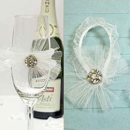 Свадебное украшение для бокалов