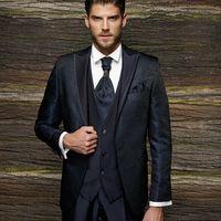 Мужской костюм-тройка Adimo темно-синий жаккард