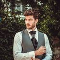 Серый свадебный жилет с пластроном Adimo