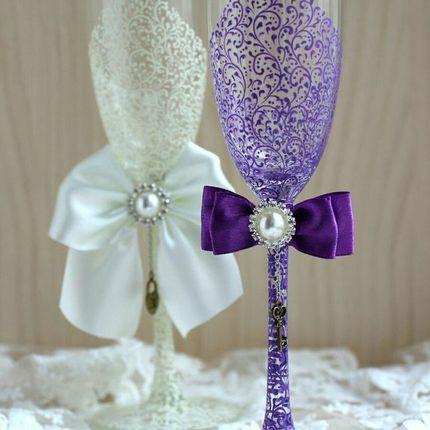 Роспись бокалов в цвете свадьбы