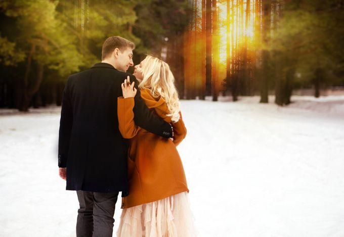 свадьба в лесу рустик закат зима