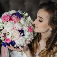 Букет невесты из пионов, роз, эустомы, калл. Букет невесты в розовой гамме