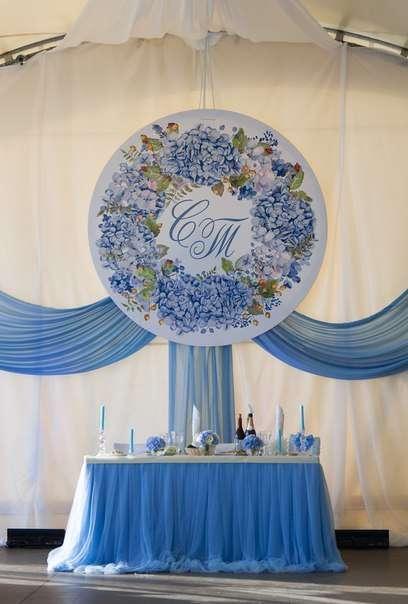 """Президиум в шатре. Декор шатра. Свадьба в голубой гортензией - фото 12741594 Декор-агентство """"Leica decor"""""""